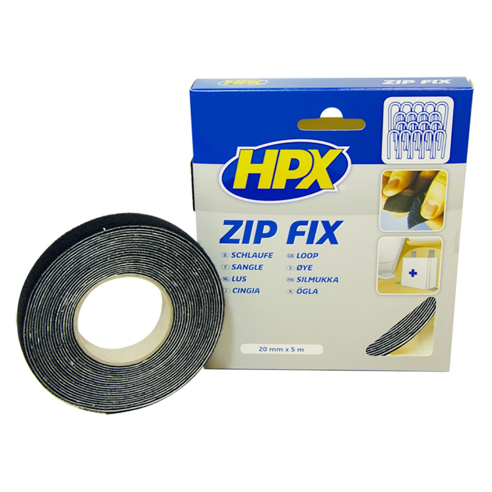HPX Ruban Auto-agrippant Zip Fix -Noir 20mm x 5m Fixation Sangle