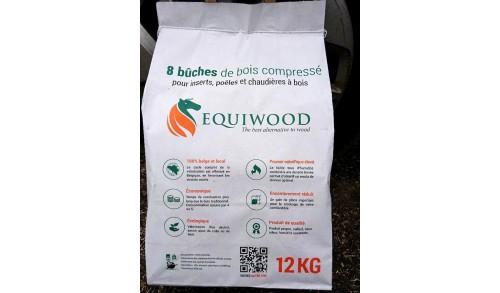 Equiwood - La bûche de chauffage écologique - bois compressé à partir de déchets de centres équestres